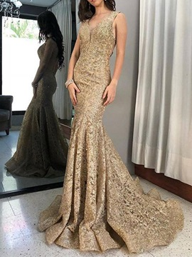 Lace Floor-Length Sweep Train V-Neck Evening Dress