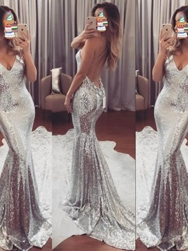 Sexy Spaghetti Straps Backless Sequins Evening Dress