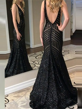 Trumpet Sleeveless Sequins V-Neck Evening Dress 2019
