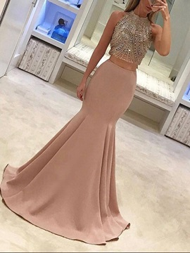 Jewel Trumpet Beading Sleeveless Evening Dress 2019