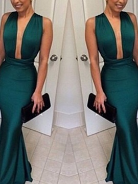 Sleeveless Trumpet Floor-Length V-Neck Evening Dress 2019