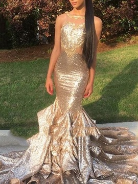 Sleeveless Trumpet Court Train Pick-Ups Evening Dress 2019