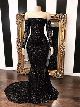 Trumpet Sequins Sweep Train Off-The-Shoulder Formal Dress 2019