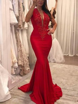 Appliques Sweep Train Trumpet Sleeveless Evening Dress 2019