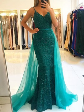 Spaghetti Straps Beading Lace Evening Dress 2019