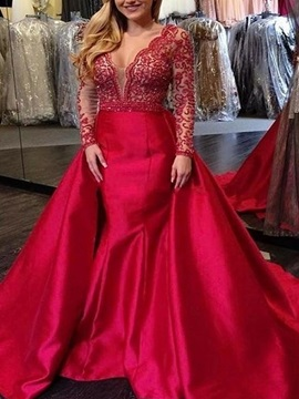 Sweep Train V-Neck Long Sleeves Floor-Length Evening Dress 2019