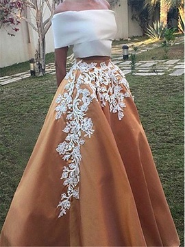 Vintage Off-the-Shoulder Appliques Two Piece Prom Dress & Prom Dresses for less