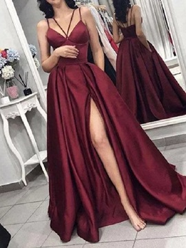 Split-Front A-Line Spaghetti Straps Floor-Length Prom Dress 2019