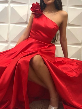 One Shoulder Floor-Length A-Line Sleeveless Prom Dress 2019