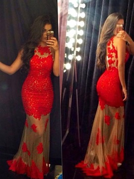 Mermaid Red Lace Prom Dress 2019