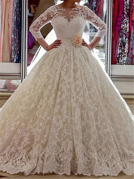 3/4 Length Sleeve Lace Ball Gown Wedding Dress & Wedding Desses for less