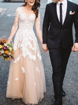 Scoop Neck Appliques Long Sleeves Wedding Dress 2019 & colored Wedding Desses