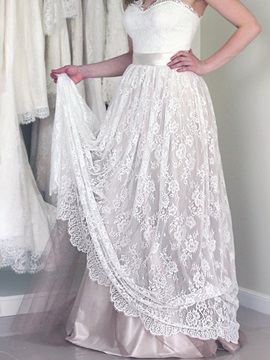 Lace Sweetheart A-Line Beach Wedding Dress
