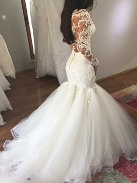 Mermaid Button Long Sleeves Appliques Wedding Dress 2019