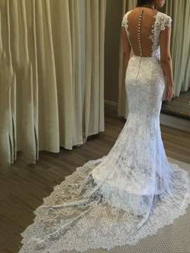 Square Neck Button Cap Sleeves Lace Wedding Dress 2019