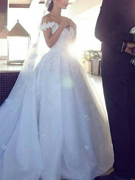 Flowers Appliques Off-The-Shoulder Ball Gown Wedding Dress