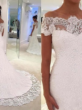 Mermaid Cap Sleeves Off-The-Shoulder Lace Wedding Dress & Wedding Desses from china