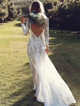 Split-Front Lace Beach Wedding Dress with Long Sleeve