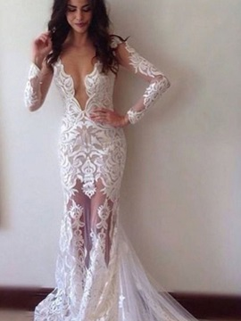 Sheath Deep V-Neck Appliques Wedding Dress