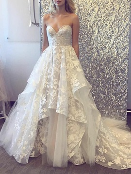 A-Line Sweetheart Tiered Lace Wedding Dress 2019