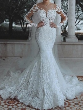 Appliques Long Sleeves Mermaid Wedding Dress