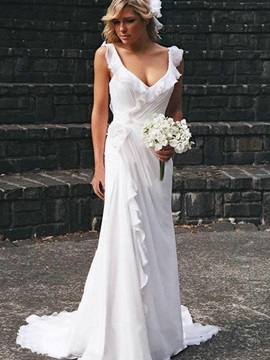 A-Line V-Neck Ruffles Beach Wedding Dress