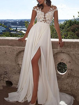 Sheer Neck Split-Front Appliques Beach Wedding Dress