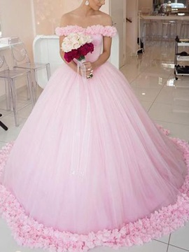 Ball Gown Off-The-Shoulder Flowers Wedding Dress 2019