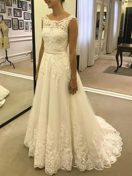 Straps Button A-Line Appliques Wedding Dress 2019