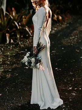 Long Sleeves Bateau Neck Button Country Wedding Dress 2019