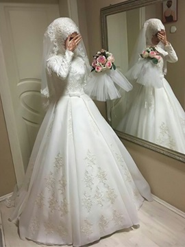 Bowknot Ball Gown Long Sleeves Muslim Wedding Dress 2019