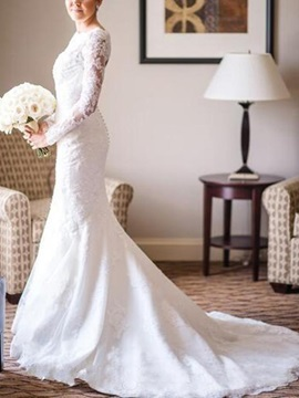 Appliques Button Backless Long Sleeves Wedding Dress 2019
