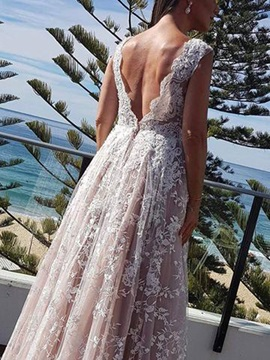 A-Line V-Neck Lace Wedding Dress 2019
