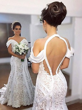 Off-The-Shoulder Backless Lace Mermaid Wedding Dress 2019