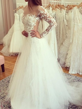 Illusion Neck Lace Long Sleeve Wedding Dress 2019