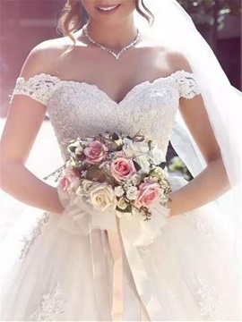 Off-The-Shoulder Appliques Ball Gown Wedding Dress 2019