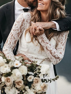 Two Pieces Button Long Sleeves Beach Wedding Dress 2019