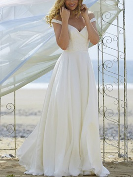 A-Line Button Off the Shoulder Beach Wedding Dress 2019