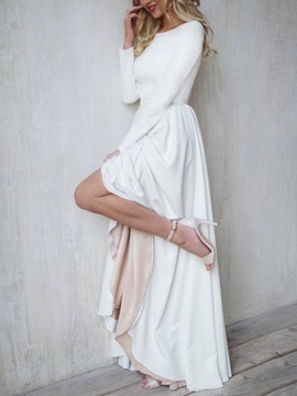 Bateau Neck Long Sleeves Button Beach Wedding Dress 2019