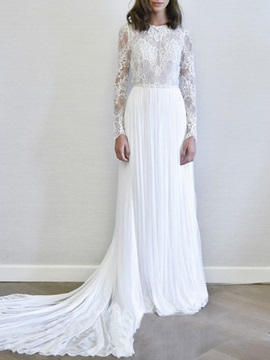 Lace Floor-Length Long Sleeves Court Hall Wedding Dress 2019
