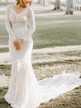 Long Sleeves V-Neck Mermaid Lace Wedding Dress 2019