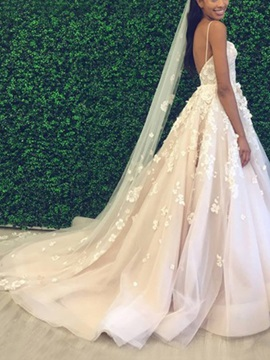 Beading Flowers Appliques Wedding Dress 2019