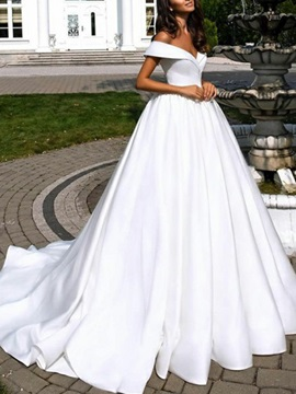 Off-The-Shoulder A-Line Court Train Wedding Dress 2019