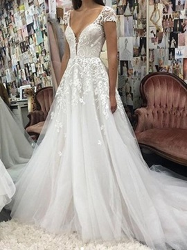 Short Sleeves Backless Lace Wedding Dress 2019