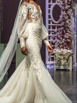 Illusion Neck Appliques Mermaid Long Sleeves Wedding Dress 2019