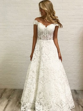 Off-The-Shoulder Appliques Lace Wedding Dress 2019