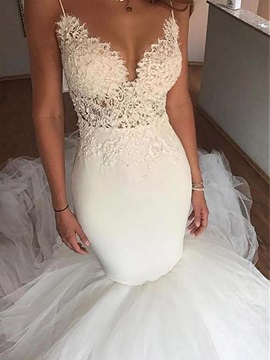 Mermaid Lace Appliques Backless Wedding Dress 2019