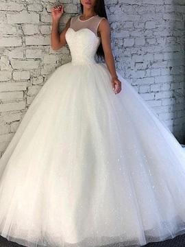 Beading Scoop Neck Ball Gown Sequins Wedding Dress 2019