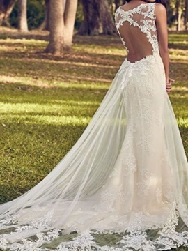A-Line Court Lace Floor-Length Church Wedding Dress 2019