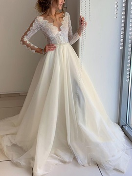 Lace A-Line Court Long Sleeves Hall Wedding Dress 2019